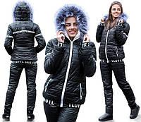 Зимний теплый костюм на овчине с меховым капюшоном черный