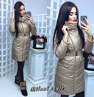 Женское плащевое пальто на молнии с высоким воротником 210242