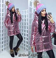 Зимняя металлизированная женская куртка с капюшоном 210144