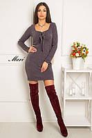 Приталенное платье из ангоры со шнуровкой на груди и овальным вырезом 6303487 коричневый