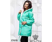 Ledi M Женская теплая куртка BL 17419 бирюзово-розовый Леди М
