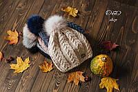 Женская шапка с бубоном из песца (на флисе) 270756