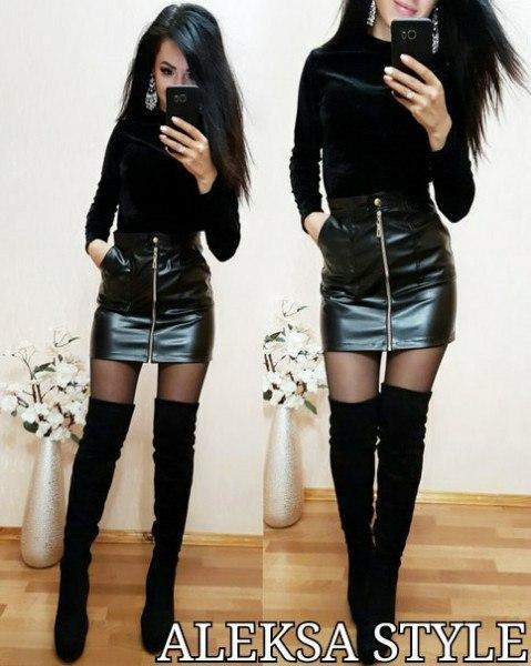 c9bdf6f0591 Кожаная женская юбка с молнией спереди 521131 - Интернет-магазин одежды