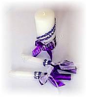 Набор свадебных свечей, сиренево-фиолетовый.