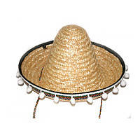 Шляпа Сомбреро солома 30 см с кисточками (бежевая)