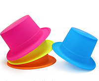 Шляпа Цилиндр пластик Флок (цветная)