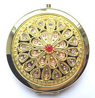 Компактное зеркало с камнями (золото)