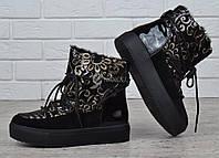 Дутики женские зимние ботинки на платформе с вышивкой Rio Grande, Черный, 40