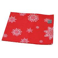 Салфетка праздничная красная со снежинками 35*45см
