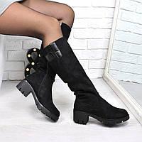 Сапоги женские Гермес черные ЗИМА, обувь зимняя женская