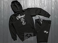 Трикотажный черный спортивный костюм Stussy brooklyn с капюшоном | топ