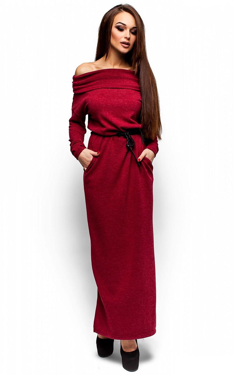 (S-M) Тепле бордове плаття-максі Ambisia -