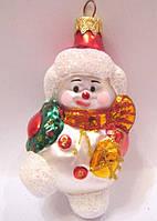 Формовая новогодняя игрушка Снеговик с веночком