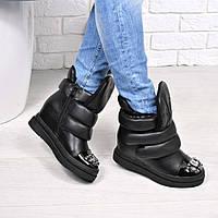Сникерсы женские Оlex черные кожа ЗИМА, обувь зимняя женская