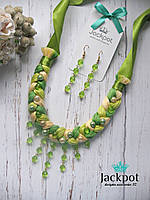 Яскравий зелений набір прикрас кольє сережки ручна робота