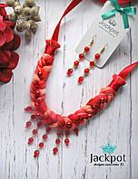 Яскравий червоний набір прикрас кольє сережки ручна робота, фото 1