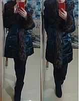 Пуховик пальто с мехом Енот рыжий 25295 черный 54р