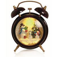 """Новорічний декор лампа - """"Годинник"""" зі снігом Snow Globe LED Clock Warm White Water"""