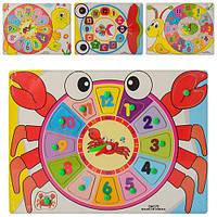 Деревянная игрушка Часы M00516 (150шт) рамка-вкладыш, с ручкой, 4 вида, в кульке, 30-22-1см