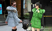 Женская куртка-пуховик.Зеленый