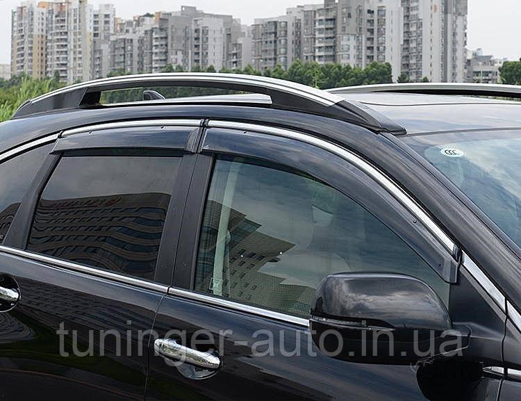 Ветровики с хромом, дефлекторы окон Honda CR-V 2007-2012