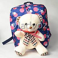Детский рюкзак с мягкой игрушкой мишка фиолетовый