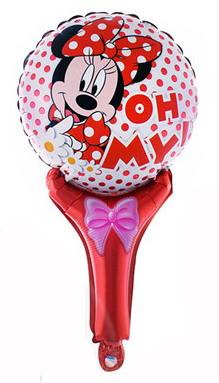 """Шар погремушка с ручкой """"Minnie Mouse"""". Размер: 50см*30см."""