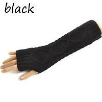 Вязанные митенки черные 30см, полуперчатки