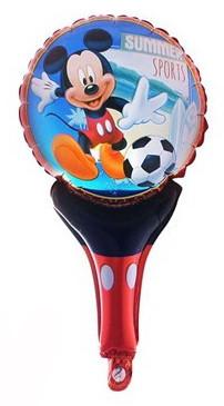 """Шар погремушка с ручкой """"Mickye Mouse"""". Размер: 50см*30см."""