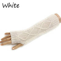 Вязанные митенки белые 30см, полуперчатки