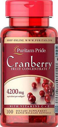 Экстракт клюквы Puritan's Pride Cranberry Fruit Concentrate with C & E 4200 mg 100 Softgels, фото 2