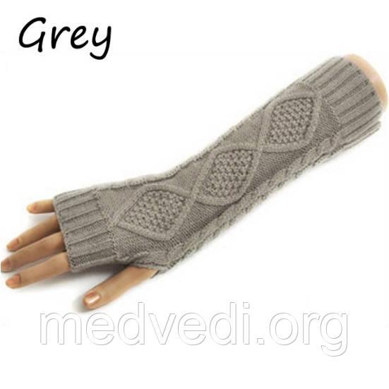 Вязанные митенки светло-серые 30см, полуперчатки