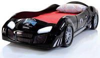 Детская кровать машинка спортивная черная пластиковая формула 1