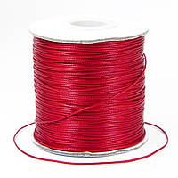 Шнур Вощеный Полиэстер, подходит для плетения браслетов, Цвет: Красный, Размер: Диаметр 0.5мм, около 180м/катушка, (УТ100009671)