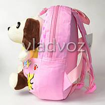 Детский рюкзак для девочек с мягкой игрушкой собачкой нежно розовый Snoopy, фото 3