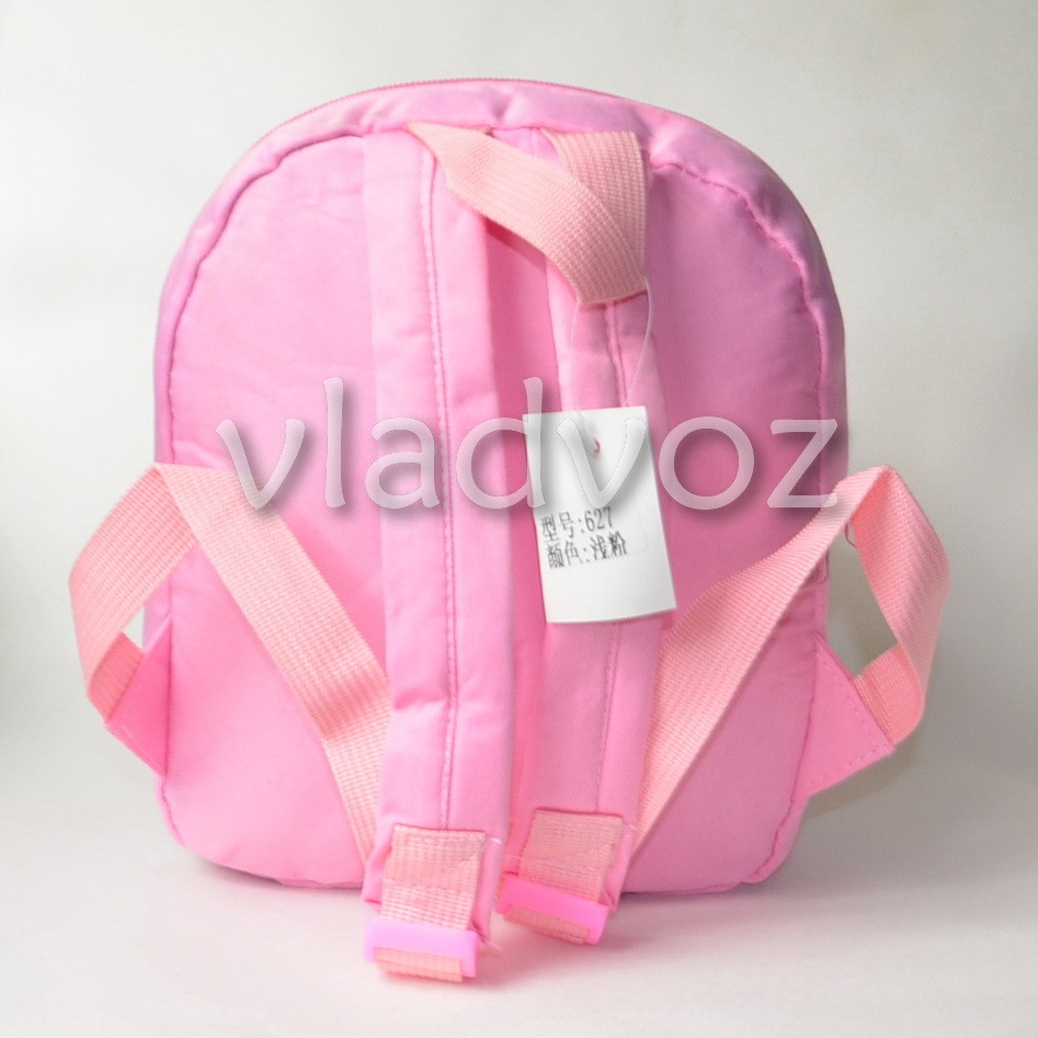 Фото детского рюкзака с игрушкой собачкой для девочки нежно розовый Snoopy вид сзади