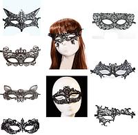 Кружевная женская маска черного цвета
