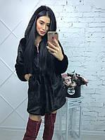 Женская шуба из искусственной норки с капюшоном 90 см h-390177