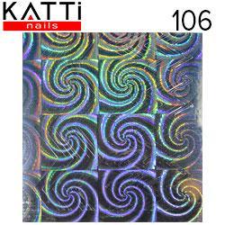 """KATTi Наклейки клейкие """"Holo 3D"""" 106 зигзаг серебро мульти калейдоскоп 1шт/лист 6х6,5см"""