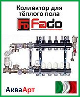 Коллектор для теплого пола Fado на шесть контуров в сборе с байпасом
