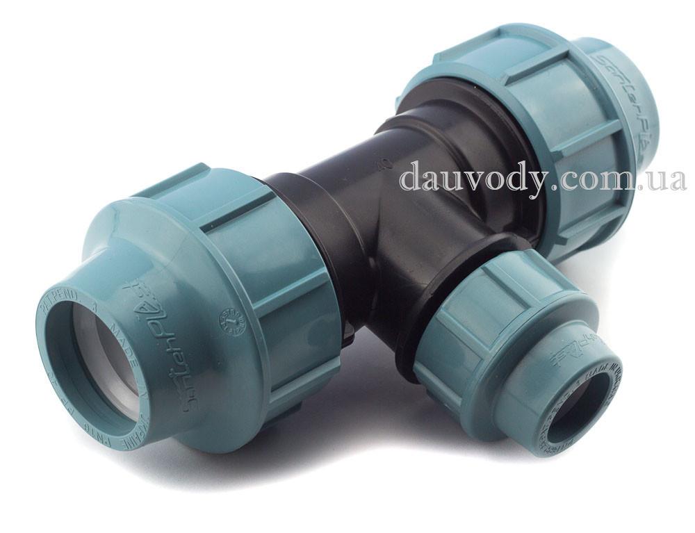 Трійник 50х25х50 затискний редукційний для поліетиленових труб пнд (Santehplast)