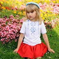 """Вышитая футболка для девочки """"Украинский орнамент"""" (короткий рукав)"""