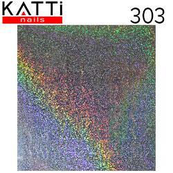 """KATTi Наклейки клейкие """"Holo 3D"""" 303 волна-2 серебро мульти песок-точки 1шт/лист 6х6,5см"""