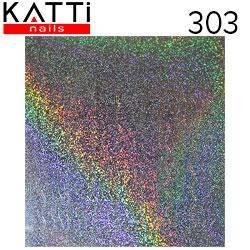 """KATTi Наклейки клейкие """"Holo 3D"""" 303 волна-2 серебро мульти песок-точки 1шт/лист 6х6,5см, фото 2"""