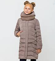 Хит продаж! Пальто детское зимнее на девочку Соня с вязаным хомутом Кофе Размеры 122-164