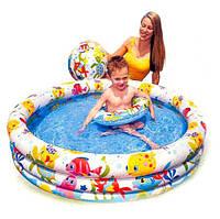 Бассейн для детей надувной Intex 59469 с мячом и кругом 132*28см, детский бассейн интекс, бассейн для дачи