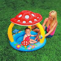 """Надувной детский бассейн с навесом """"Грибок"""" Intex 57407, надувной бассейн для малышей интекс 102*89см"""