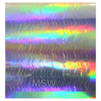 """KATTi Наклейки клейкие """"Holo 3D"""" 308 волна-2 серебро мульти чистый 1шт/лист 6х6,5см, фото 2"""