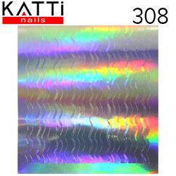 """KATTi Наклейки клейкие """"Holo 3D"""" 308 волна-2 серебро мульти чистый 1шт/лист 6х6,5см"""