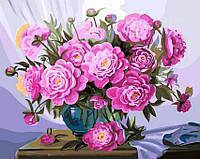 Картина по номерам 40х50 Пионы в синей вазе (GX5583)